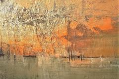 26 -Orizzonte dorato - t.mista su tavola con foglia oro - 50x50 cm
