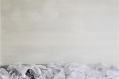 11 - Dissociazioni - 2015 - T.mista su tavola con rete di alluminio e deodoranti al profumo di mughetto - 70x100 cm