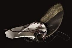 6 -Varie melanconie -2009 - tecnica raku ,acciaio e cordoncino -37x12x46h cm